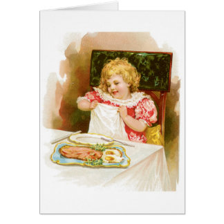 Girl with Breakfast Vintage Food Ad Art Card