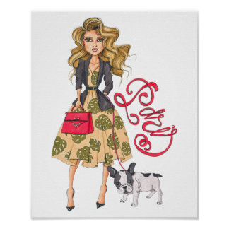 Girl with Bulldog Poster