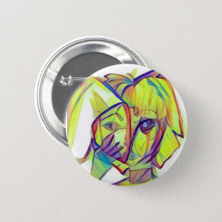Girl with Bunny Mask Button