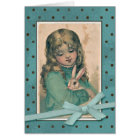 Girl with Bunny Vintage Reproduction Card