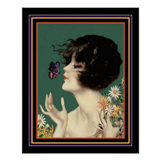 """""""Girl With Butterfly"""" Henry Clive Deco Print 16x20"""