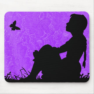 GIRL WITH BUTTERFLY SILHOUTTE-MOUSE-PAD MOUSE PAD