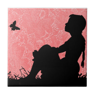 GIRL WITH BUTTERFLY SILHOUTTE-TILE TILE