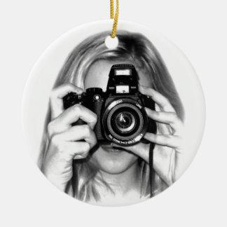 Girl with camera round ceramic ornament