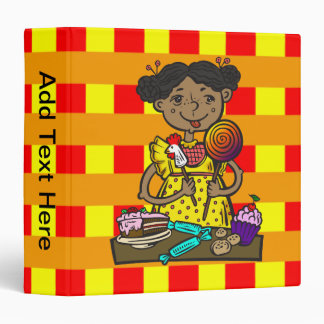 Girl With Candy and Cakes 3 Ring Binders