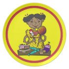 Girl With Candy and Cakes Plate