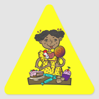 Girl With Candy and Cakes Triangle Sticker