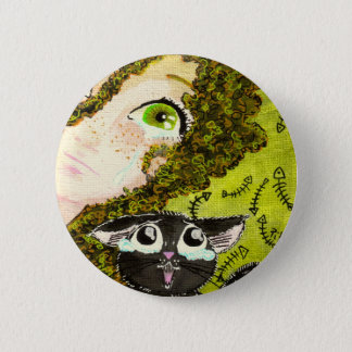 girl with cat 2 2 inch round button