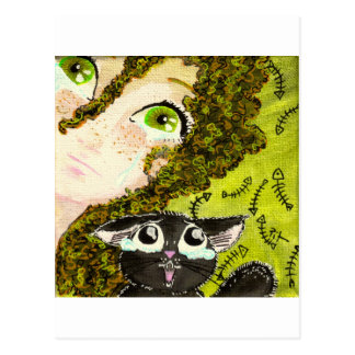 girl with cat 2 postcard