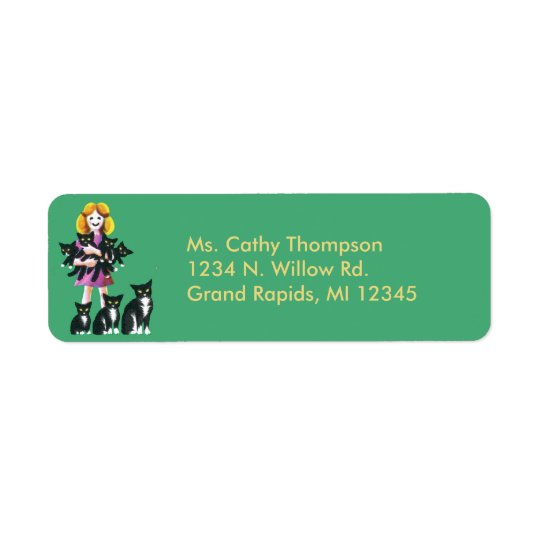 Girl with Cat Return Address Labels