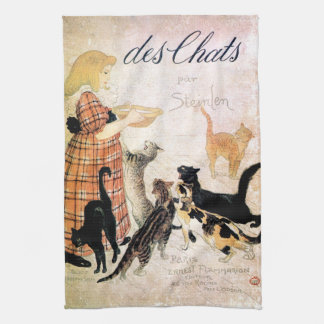 Girl with Cats, Alexandre Steinlen Kitchen Towel