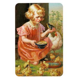 Girl with Chicks. Fine Art Easter Gift Magnet