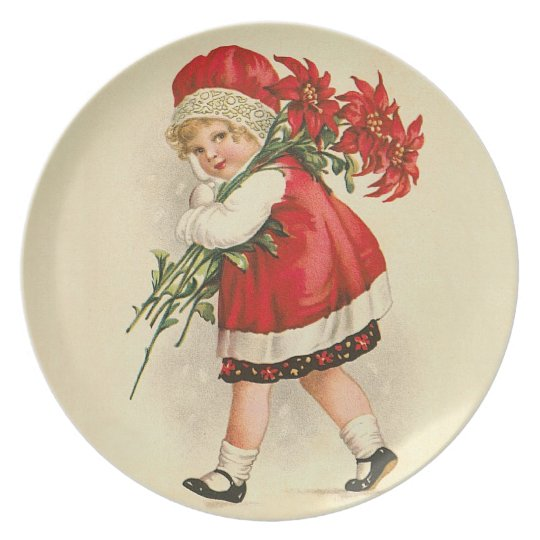 Girl with Christmas Flowers Plate