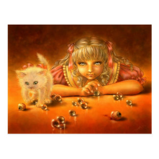 Girl with Creepy Eyes Macabre Fantasy Postcard