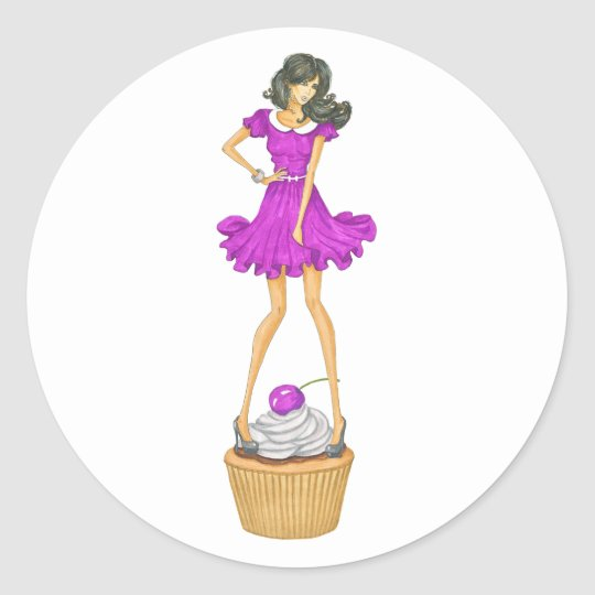 Girl with Cupcake Classic Round Sticker