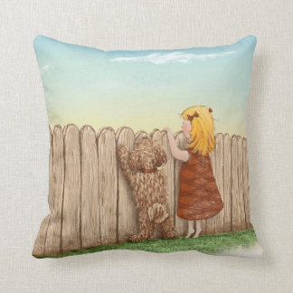 Girl With Dog Paintings / Labradoodle Love Throw Pillow