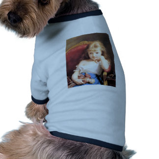 Girl with Doll antique painting Doggie Tee Shirt