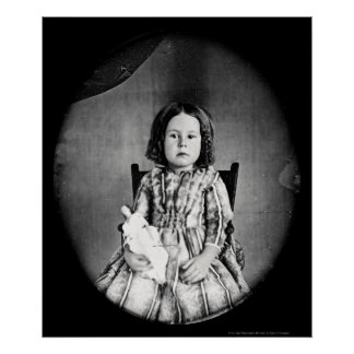 Girl with Doll Daguerreotype 1844 Poster