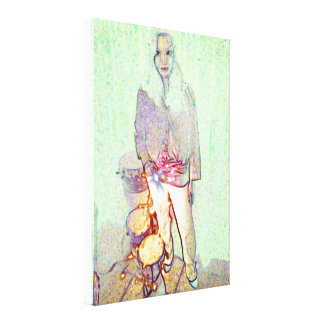 Girl with drums canvas print