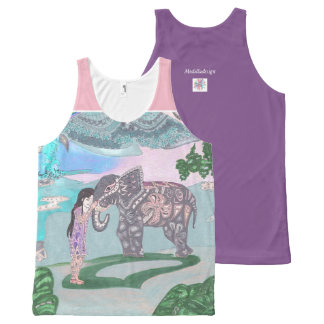 girl with elephant All-Over-Print tank top