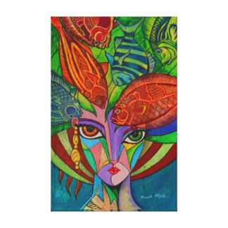 Girl with fishes canvas print