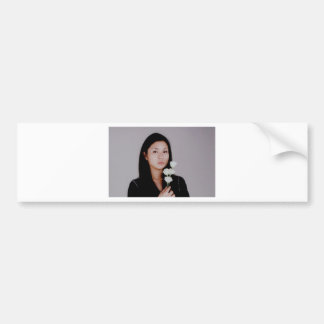 Girl with Flower Bumper Sticker