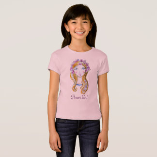 """Girl with flowers""- Girls' Fitted T-Shirt"