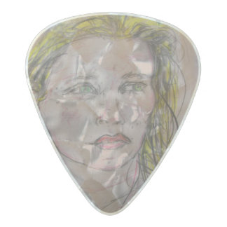 girl with flowers in her hair pearl celluloid guitar pick