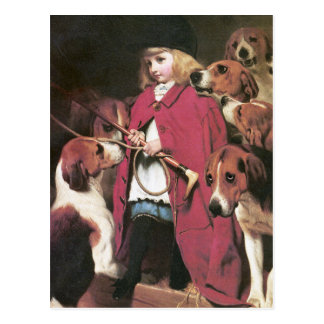Girl with Foxhounds - Vintage Art - Charles Barber Postcard