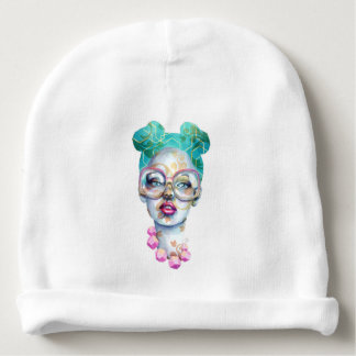 Girl with Glasses Funky Watercolour Art Baby Beanie