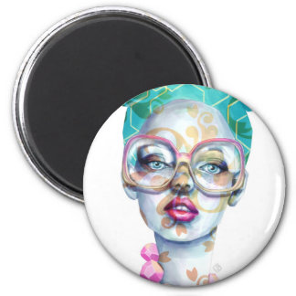 Girl with Glasses Funky Watercolour Art Magnet