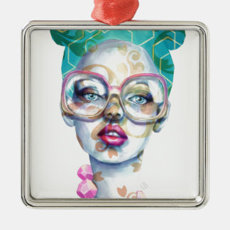 Girl with Glasses Funky Watercolour Art Metal Ornament