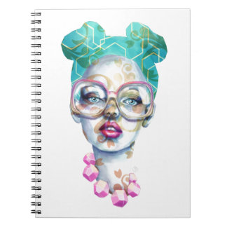 Girl with Glasses Funky Watercolour Art Notebook