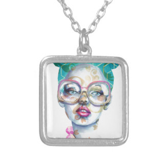 Girl with Glasses Funky Watercolour Art Silver Plated Necklace