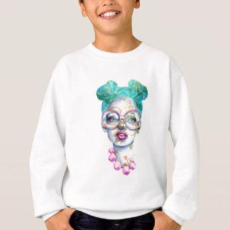 Girl with Glasses Funky Watercolour Art Sweatshirt