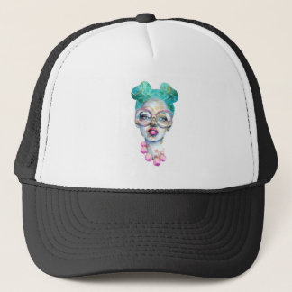Girl with Glasses Funky Watercolour Art Trucker Hat