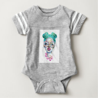 Girl with Glasses Unique Watercolour Art Pink Teal Baby Bodysuit
