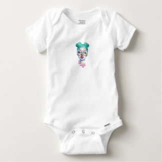 Girl with Glasses Unique Watercolour Art Pink Teal Baby Onesie