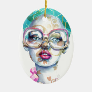 Girl with Glasses Unique Watercolour Art Pink Teal Ceramic Ornament