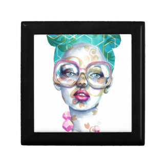 Girl with Glasses Unique Watercolour Art Pink Teal Gift Box