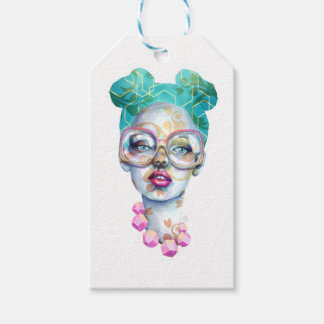 Girl with Glasses Unique Watercolour Art Pink Teal Gift Tags