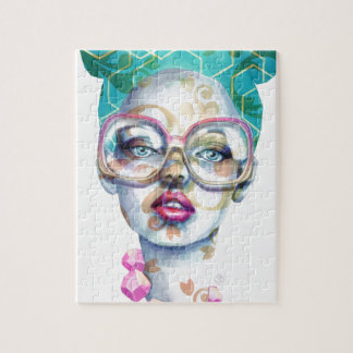Girl with Glasses Unique Watercolour Art Pink Teal Jigsaw Puzzle