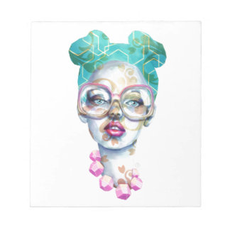 Girl with Glasses Unique Watercolour Art Pink Teal Notepad