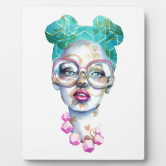 Girl with Glasses Unique Watercolour Art Pink Teal Plaque