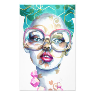 Girl with Glasses Unique Watercolour Art Pink Teal Stationery