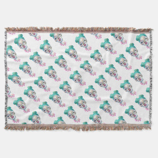 Girl with Glasses Unique Watercolour Art Pink Teal Throw Blanket