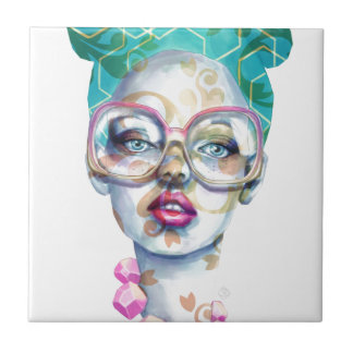Girl with Glasses Unique Watercolour Art Pink Teal Tile