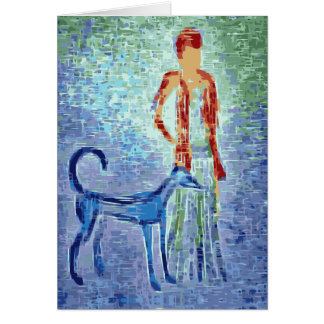 Girl with greyhound artwork card