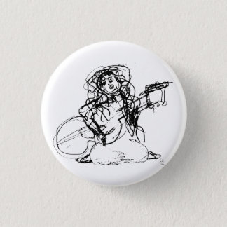 Girl with Guitar 1 Inch Round Button