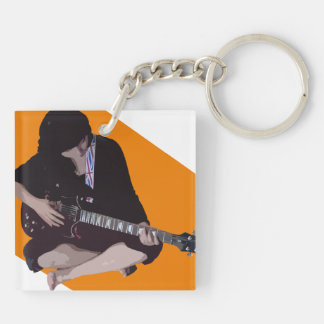 Girl with Guitar Double-Sided Square Acrylic Keychain